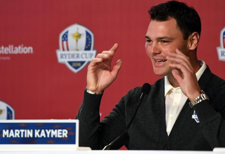 Sep 29, 2016; Chaska, MN, USA;   Martin Kaymer of Germany addresses the media during a press conference before their practice round for the 41st Ryder Cup at Hazeltine National Golf Club. Mandatory Credit: John David Mercer-USA TODAY Sports