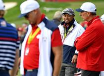Team USA vice-captain Tiger Woods on the driving range during a practice round for the 41st Ryder Cup at Hazeltine National Golf Club. Mandatory Credit: John David Mercer-USA TODAY Sports
