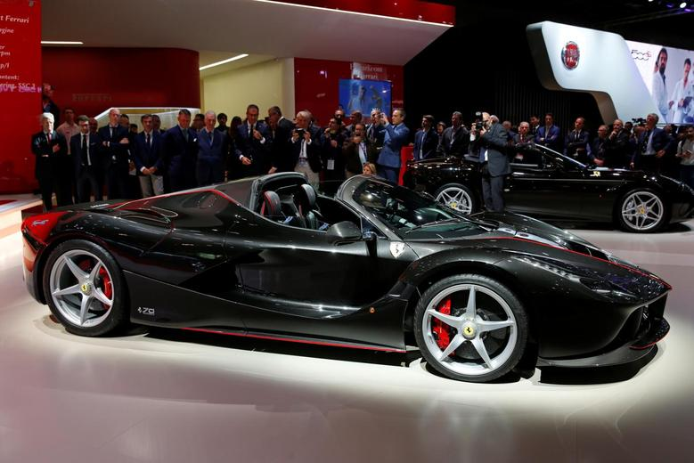The new Ferrari LaFerrari Aperta is displayed on media day at the Paris auto show in Paris, France, September 29, 2016. REUTERS/Benoit Tessier
