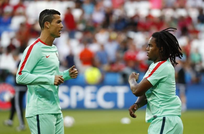 Football Soccer - Portugal v Wales - EURO 2016 - Semi Final - Stade de Lyon, Lyon, France - 6/7/16Portugal's Cristiano Ronaldo and Renato Sanches before the gameREUTERS/Kai Pfaffenbach