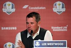 Sep 29, 2016; Chaska, MN, USA;  Lee Westwood of England speaks during a press conference during a practice round for the 41st Ryder Cup at Hazeltine National Golf Club. Mandatory Credit: John David Mercer-USA TODAY Sports