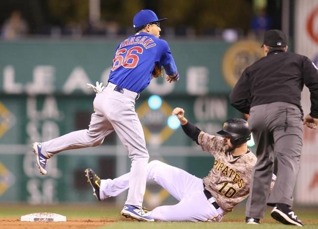 9月29日、MLBカブスの川崎宗則内野手は、敵地でのパイレーツ戦に8番・二塁で先発出場し、2打数1安打、1三振の成績だった(2016年 ロイター/Charles LeClaire-USA TODAY Sports)