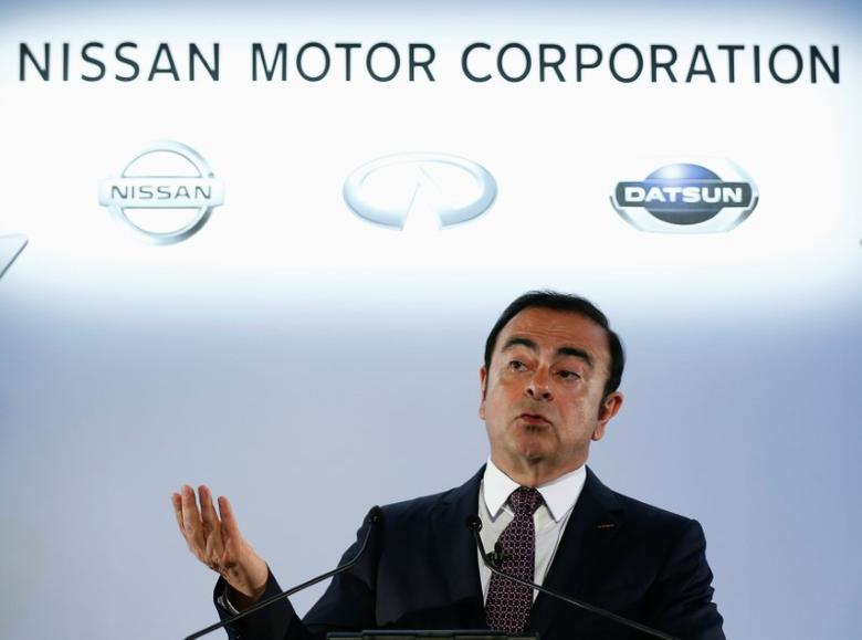 Carlos Ghosn, Chairman and CEO of the Renault-Nissan Alliance, speaks during a news conference in Yokohama, Japan, May 12, 2016. REUTERS/Thomas Peter