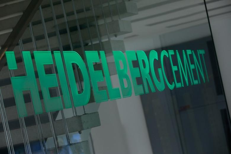 A logo of HeidelbergCement is pictured at their headquarters in Heidelberg, Germany, June 21, 2016. Picture taken June 21, 2016.  REUTERS/Ralph Orlowski