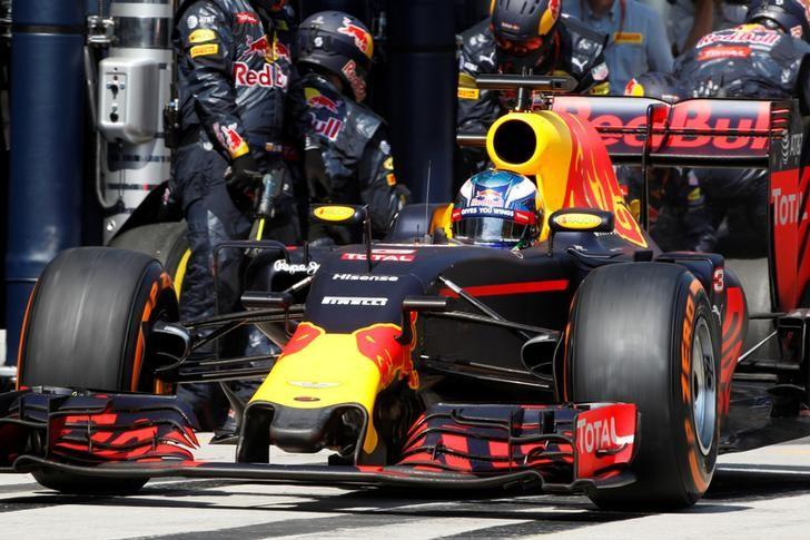 Red Bull driver Daniel Ricciardo of Australia leaving pit lane after changing his tires during a pit stop while competing at the Malaysian Formula One Grand Prix at the Sepang International Circuit in Sepang, Malaysia, Sunday, Oct. 2, 2016.  REUTERS/Joshua Paul/Pool/Files