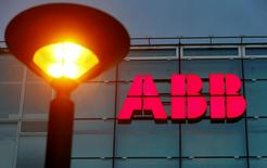 The logo of Swiss engineering group ABB is seen at a plant in Zurich, Switzerland October 4, 2016. REUTERS/Arnd Wiegmann