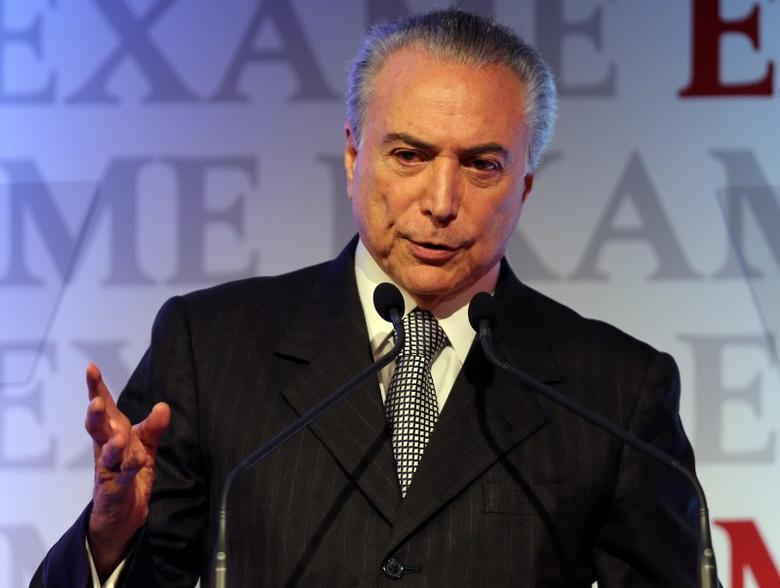 Brazil's President Michel Temer gestures as he attends an economics and politics forum in Sao Paulo, Brazil, September 30, 2016. REUTERS/Paulo Whitaker