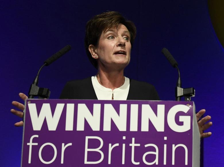 Diane James, the new leader of the United Kingdom Independence Party (UKIP), speaks at the party's annual conference in Bournemouth, Britain, September 16, 2016. REUTERS/Toby Melville