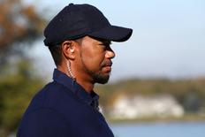 Oct 1, 2016; Chaska, MN, USA; Team USA vice-captain Tiger Woods on the tenth green during the morning foursome matches in the 41st Ryder Cup at Hazeltine National Golf Club. Mandatory Credit: Rob Schumacher-USA TODAY Sports