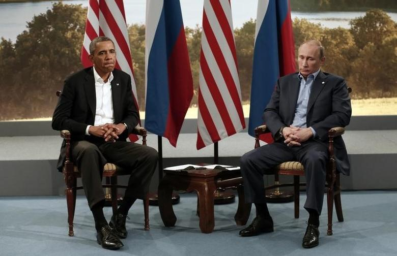 President Obama meets with Russian President Vladimir Putin during the G8 Summit at in Enniskillen, Northern Ireland, June 2013. REUTERS/Kevin Lamarque