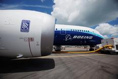 A view of one of two Rolls Royce Trent 1000 engines of the Boeing 787 Dreamliner during a media tour of the aircraft ahead of the Singapore Airshow in Singapore February 12, 2012.   REUTERS/Edgar Su/File Photo