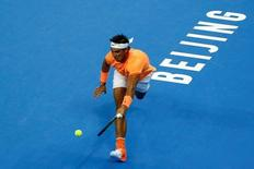 Tennis - China Open men's singles second Round - Beijing, China - 06/10/16. Rafael Nadal of Spain plays against Adrian Mannarino of France. REUTERS/Thomas Peter
