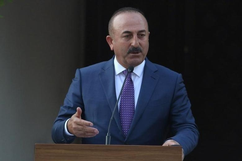 Turkey's Foreign Minister Mevlut Cavusoglu speaks to the media during a visit to northern Cyprus, August 31, 2016. REUTERS/Yiannis Kourtoglou/File Photo