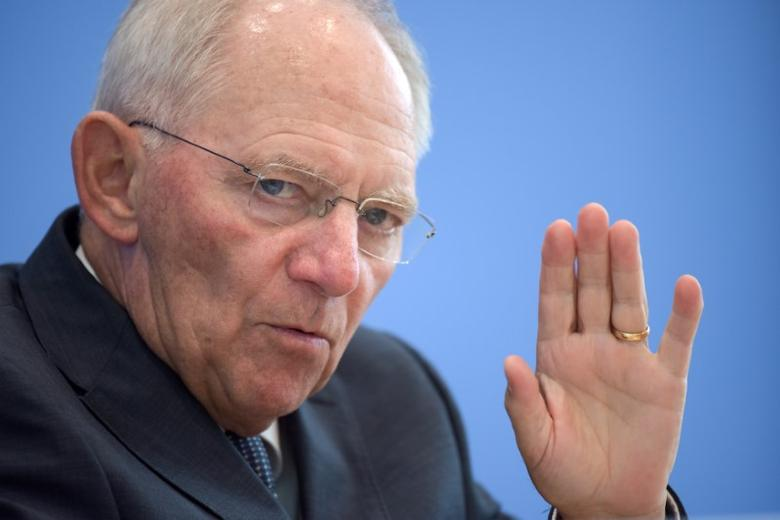 Finance Minister Wolfgang Schaeuble speaks at a news conference on 2017 budget and financial plan till 2020 in Berlin, Germany July 6, 2016. REUTERS/Stefanie Loos/File Photo