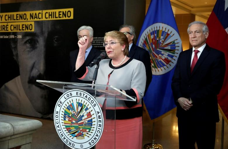 Chilean President Michelle Bachelet speaks at the opening ceremony of a photo exhibit in honor of the late and former Chilean foreign minister Orlando Letelier at the OAS in Washington, U.S., September 23, 2016. REUTERS/Yuri Gripas