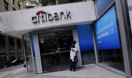 A woman enters a Citibank branch in Buenos Aires, Argentina, February 19, 2016. REUTERS/Marcos Brindicci