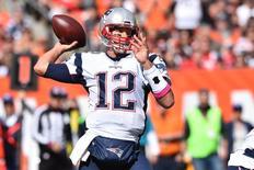 Oct 9, 2016; Cleveland, OH, USA; New England Patriots quarterback Tom Brady (12) throws a pass during the first quarter against the Cleveland Browns at FirstEnergy Stadium. Mandatory Credit: Ken Blaze-USA TODAY Sports