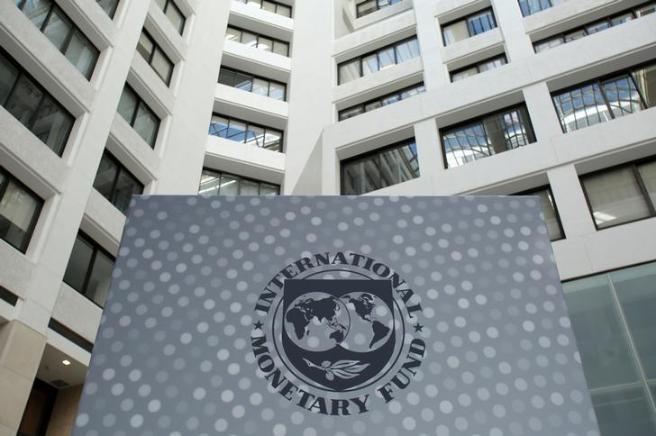 2016年10月9日,华盛顿,国际货币基金组织(IMF)总部大楼内的logo。REUTERS/Yuri Gripas