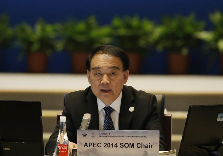 China's Vice Foreign Minister Li Baodong speaks during the opening of the 2014 APEC Concluding Senior Officials' Meeting, at the China National Convention Centre, in Beijing, November 5, 2014. REUTERS/Kim Kyung-Hoon