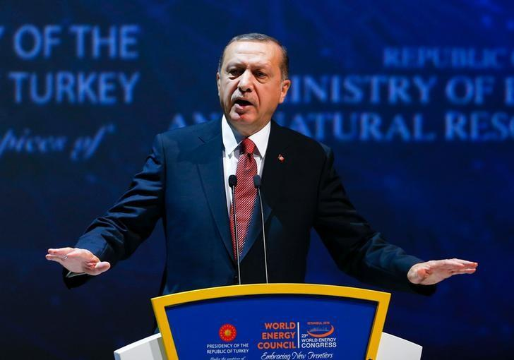 Turkish President Tayyip Erdogan delivers a speech during the 23rd World Energy Congress in Istanbul, Turkey, October 10, 2016. REUTERS/Murad Sezer