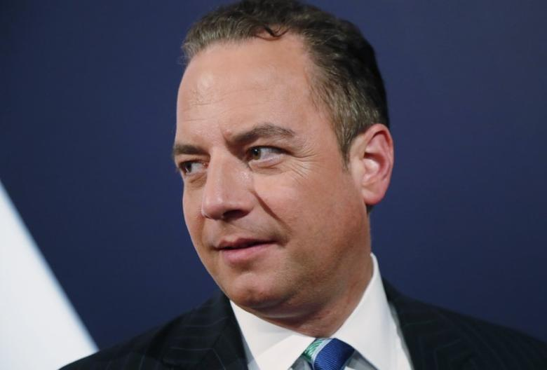 Republican National Committee Chair Reince Priebus talks with fellow attendees as he awaits for the start of the debate between Democratic U.S. vice presidential nominee Senator Tim Kaine and Republican U.S. vice presidential nominee Governor Mike Pence at Longwood University in Farmville, Virginia, U.S., October 4, 2016.    REUTERS/Rick Wilking