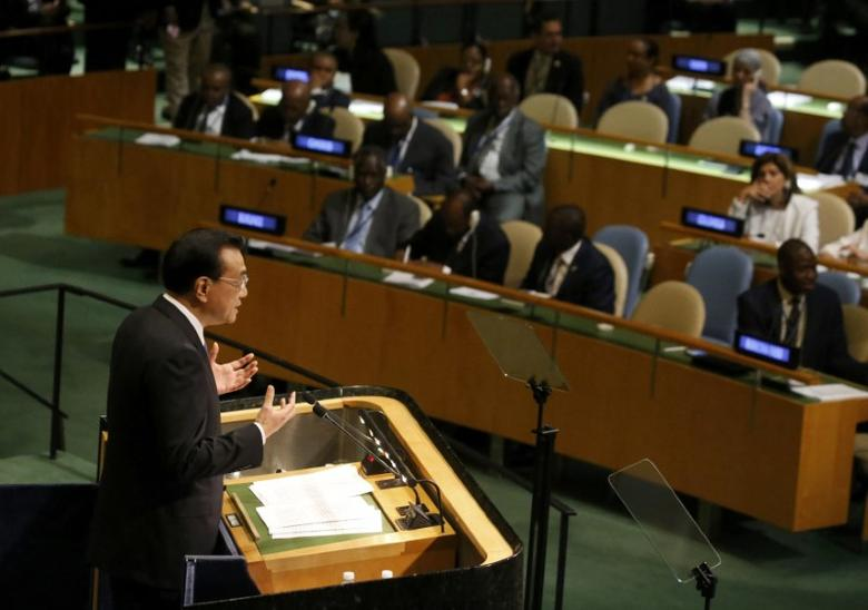 Premier Li Keqiang of China addresses the United Nations General Assembly in the Manhattan borough of New York, U.S., September 21, 2016.  REUTERS/Carlo Allegri