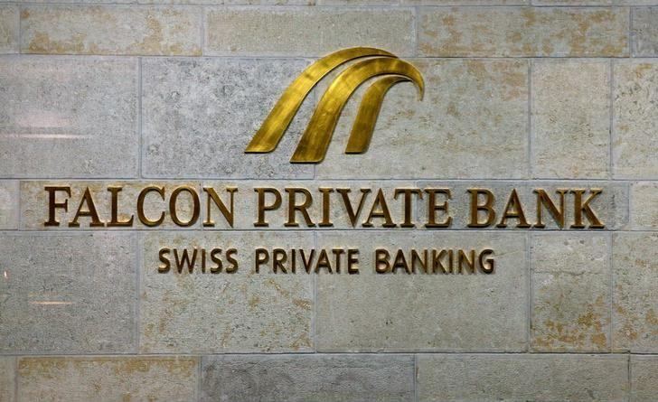 The logo of Swiss Falcon Private Bank, owned by Abu Dhabi's International Petroleum Investment Co (IPIC), is seen at its headquarters in Zurich, Switzerland September 22, 2016. REUTERS/Arnd Wiegmann