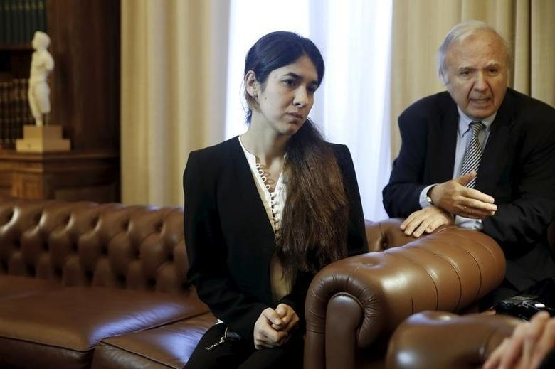 Nadia Murad Basee Taha, a 21-year-old Iraqi woman of the Yazidi faith who was abducted and held by the Islamic State for three months, meets with Greek President Prokopis Pavlopoulos (not pictured) at the Presidential Palace in Athens, Greece, December 30, 2015. REUTERS/Alkis Konstantinidis/Files