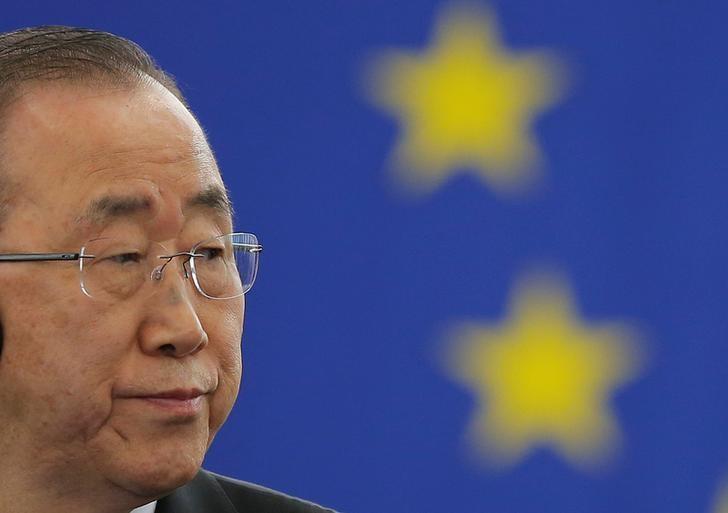 U.N. Secretary General Ban Ki-moon attends a voting session on the Paris U.N. COP 21 Climate Change agreement at the European Parliament in Strasbourg, October 4, 2016. REUTERS/Vincent Kessler