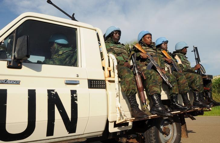 U.N. peacekeepers ride on their truck as they receive U.S. Ambassador to the United Nations Samantha Power (not in the picture) at the Juba International Airport in South Sudan's capital Juba, September 2, 2016. REUTERS/Jok Solomun