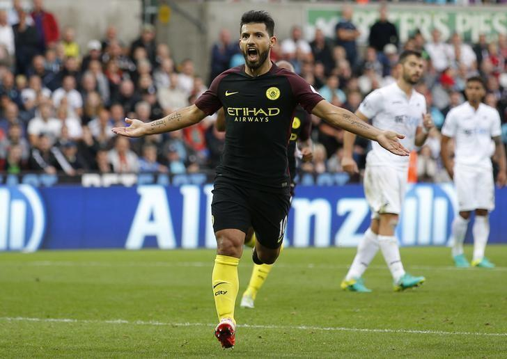 Britain Football Soccer - Swansea City v Manchester City - Premier League - Liberty Stadium - 24/9/16Manchester City's Sergio Aguero celebrates scoring their second goal Action Images via Reuters / Andrew Couldridge/ Livepic/ Files