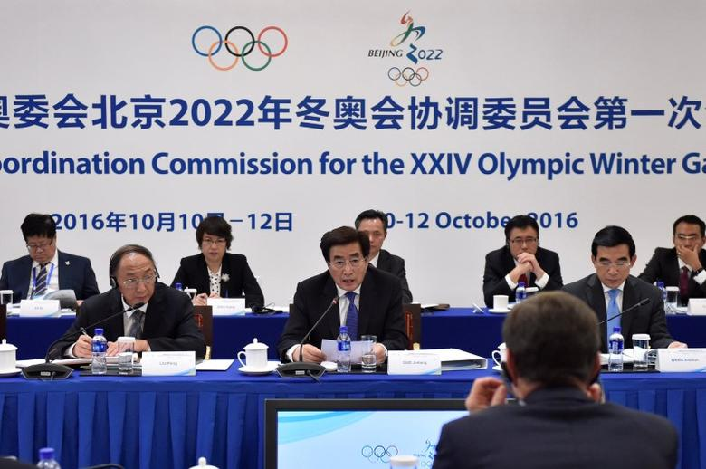 Guo Jinlong (C), Beijing Communist Party Secretary talks at 1st IOC Meeting about the 2022 Beijing Olympic and Paralympic Winter Games, in Beijing, China, 10th October 2016. REUTERS/Kenzaburo Fukuhara/Pool