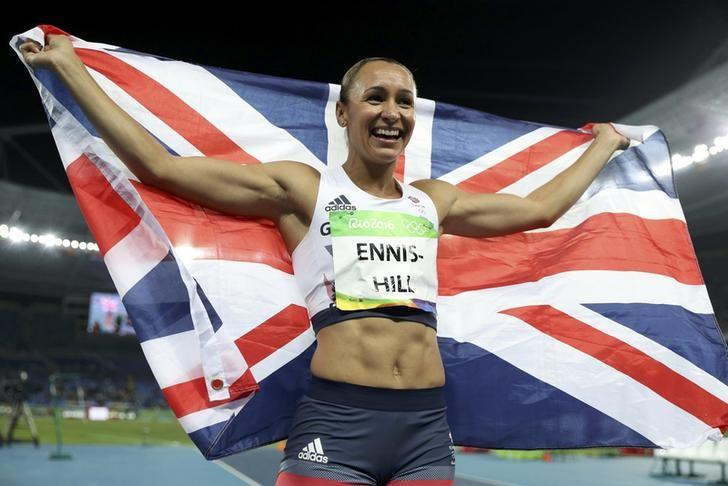 Jessica Ennis-Hill (GBR) of Britain celebrates winning the silver medal.  REUTERS/Phil Noble