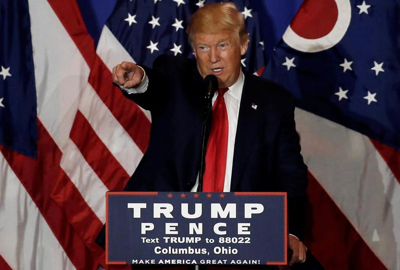 U.S. Republican presidential nominee Donald Trump speaks at a campaign event in Columbus, Ohio, U.S., October 13, 2016.  REUTERS/Mike Segar