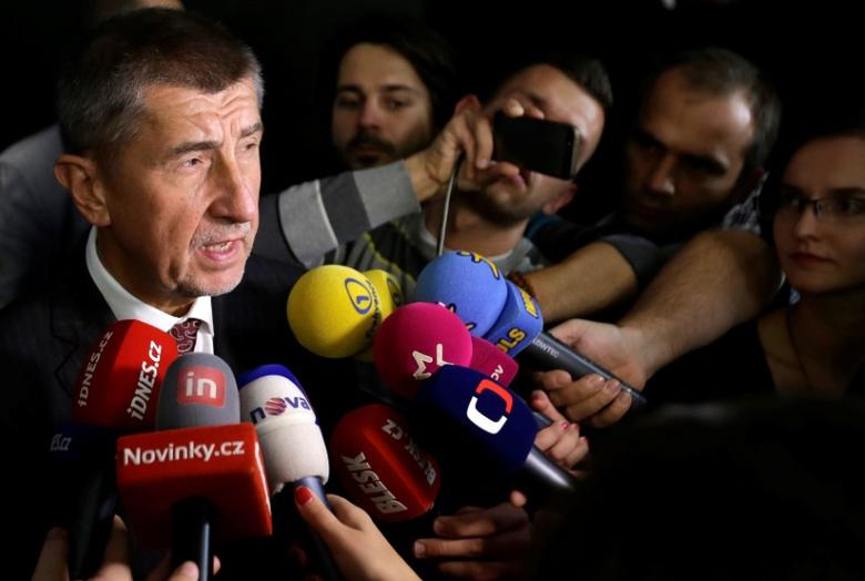 The leader of ANO party Andrej Babis answers questions from the media after the regional elections in Prague, Czech Republic, October 8, 2016.  REUTERS/David W Cerny