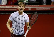 Tennis - Japan Open men's singles final match - Ariake Coliseum, Tokyo, Japan - 09/10/16. David Goffin of Belgium reacts during a match against Nick Kyrgios of Australia. REUTERS/Kim Kyung-Hoon