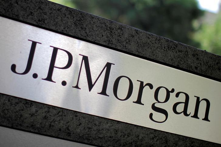 The logo of Dow Jones Industrial Average stock market index listed company JPMorgan Chase (JPM) is seen in Los Angeles, California, United States, in this October 12, 2010 file photo. JPMorgan Chase & Co. owns Chase Commerical Bank and JPMorgan Investment Bank.  REUTERS/Lucy Nicholson/File Photo