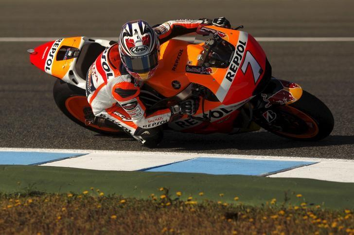 Honda MotoGP rider Hiroshi Aoyama of Japan rides his bike during the third free practice session of the Spanish Grand Prix in Jerez de la Frontera, southern Spain, May 2, 2015. REUTERS/Jon Nazca/Files