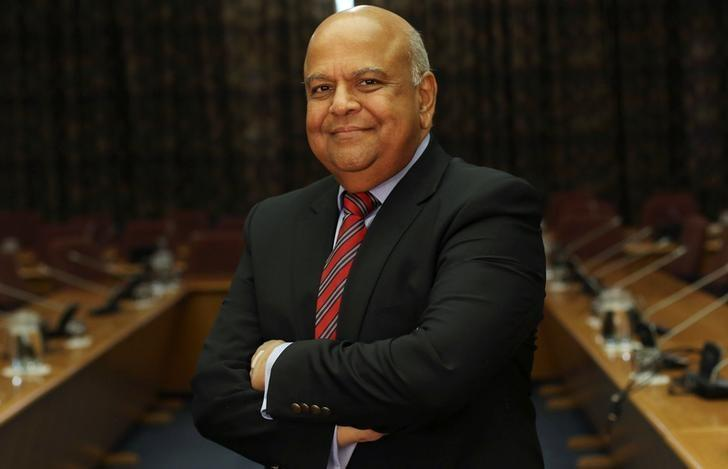 South African finance minister Pravin Gordhan poses for a photograph in Pretoria, after speaking via video link to a Thomson Reuters investment conference in Cape Town South Africa, October 14, 2016. REUTERS/Siphiwe Sibeko