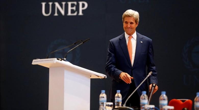 U.S. Secretary of State John Kerry delivers his keynote addres to promote U.S. climate and environmental goals, at the Meeting of the Parties to the Montreal Protocol on the elimination of hydro fluorocarbons (HFCs) use held, in Rwanda's capital Kigali, October 14, 2016. REUTERS/James Akena
