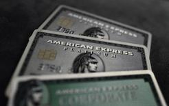 Credit cards of American Express are photographed in this illustration picture in this March 17, 2016, file photo. REUTERS/Kai Pfaffenbach/Illustration/Files