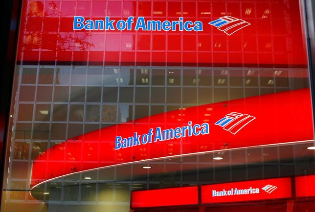 Reflections are seen in the windows of a Bank of America branch in New York, U.S. on October 8, 2008.  REUTERS/Lucas Jackson/File Photo