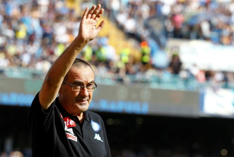 Football - Soccer - Napoli v AS Roma - Italian Serie A - San Paolo Stadium, Naples, Italy - 15/10/2016. Napoli's coach Maurizio Sarri greets supporters before the match. REUTERS/Stefano Rellandini