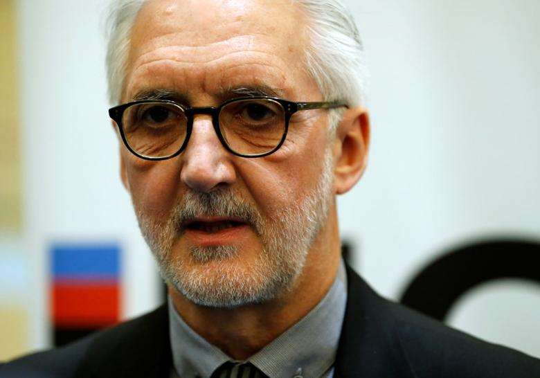 Britain's Brian Cookson, President of International Cycling Union (UCI) attends a media event on motor detection in Aigle, Switzerland May 3, 2016. REUTERS/Denis Balibouse/Files