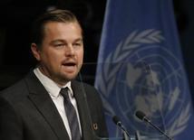 Ator DiCaprio faz discurso na sede da ONU.  22/4/2016.       REUTERS/Carlo Allegri
