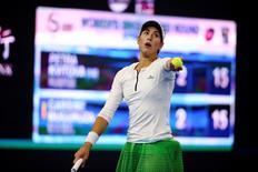 Tennis - China Open Women's Singles Third Round - Beijing, China - 05/10/16. Garbine Muguruza Blanco of Spain plays against Petra Kvitova of Czech Republic. REUTERS/Damir Sagolj