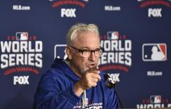 Oct 24, 2016; Cleveland , OH, USA; Chicago Cubs manager Joe Maddon (70) talks to the media during work out day prior to the start of the 2016 World Series at Progressive Field. Mandatory Credit: David Richard-USA TODAY Sports