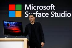 Panos Panay, Corporate Vice President for Surface Computing holds the new Microsoft Surface Studio computer at a live event in the Manhattan borough of New York City, October 26, 2016. REUTERS/Lucas Jackson