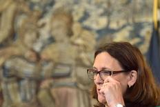 EU trade commissioner Cecilia Malmstrom reacts during the signing of the Belgian agreement on the Comprehensive Economic and Trade Agreement (CETA), a planned EU-Canada free trade agreement, at the Lambermont Residence in Brussels, Belgium, October 29, 2016. REUTERS/Eric Vidal