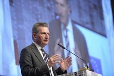Guenther Oettinger, European Commissioner for Digital Economy and Society, delivers a speech at the world's biggest computer and software fair CeBit in Hanover, Germany, March 14, 2016.  REUTERS/Nigel Treblin